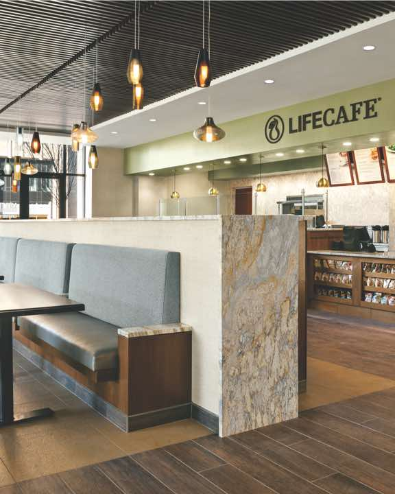 Service counter and open seating area at LifeCafe