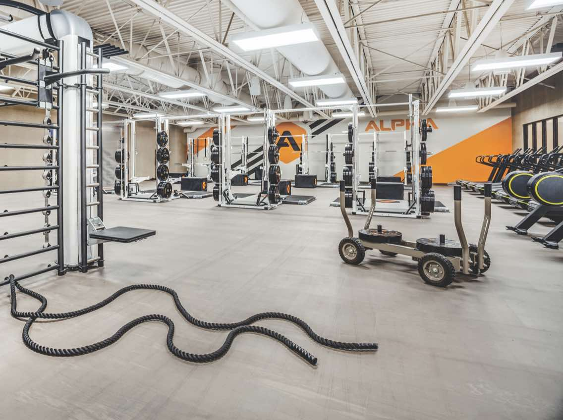 Alpha training area at Life Time with Olympic-style weight-training equipment
