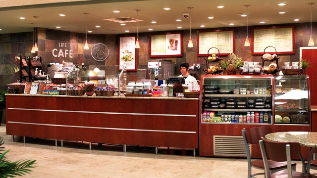 The counter area in Life Time's café