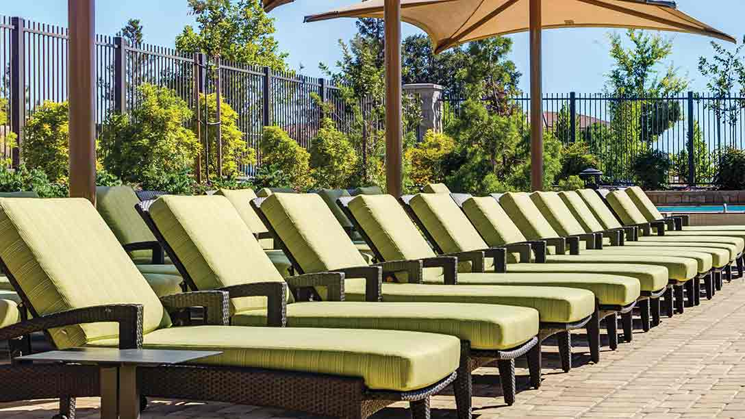 A row of comfortable lounge chairs by the pool