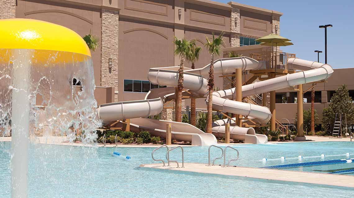 Two outdoor water slides and a leisure pool