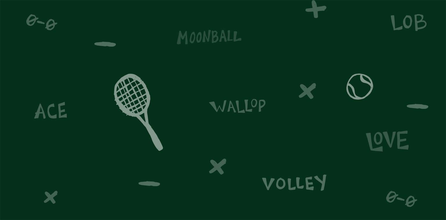 Artwork depicting tennis and squash items and terms