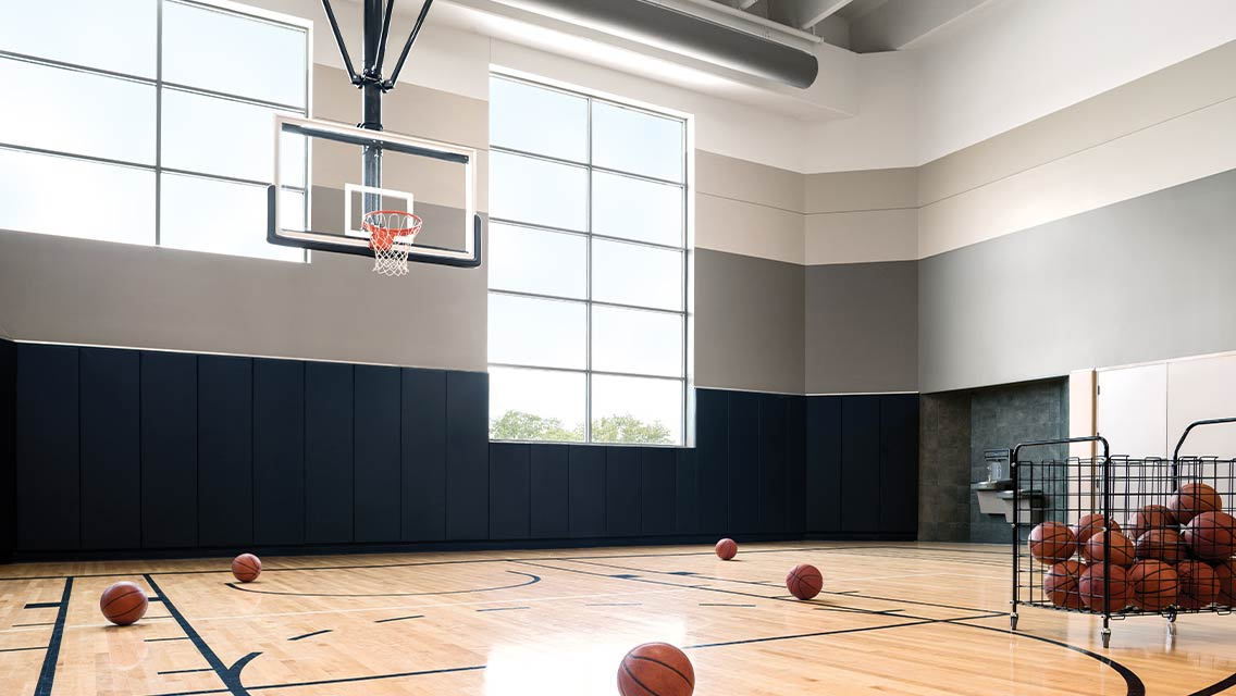 Indoor basketball court at Life Time.