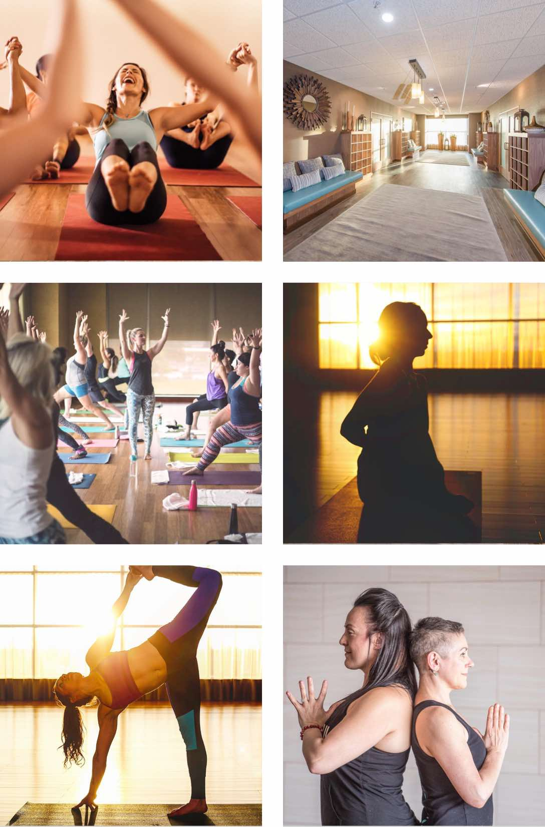 People holding yoga poses on mats in a yoga studio at Life Time